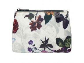 Cestovní sáček na kosmetiku, příruční kosmetická taška s květinovým vzorem, bilá barva,