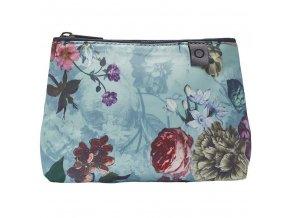 Cestovní sáček na kosmetiku, příruční kosmetická taška s květinovým vzorem, světle modrá barva,