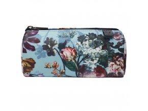 Příruční kosmetická taška s květinovým vzorem, cestovní sáček na kosmetiku, světle modrá barva,