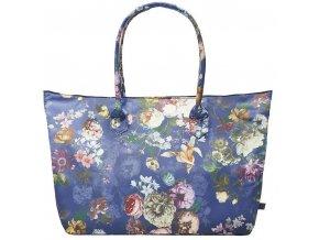 Cestovní taška s květinovým vzorem, prostorný kufřík v tmavě modré barvě,