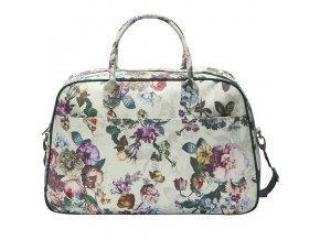 Malá cestovní taška s květinovým vzorem, prostorný kufřík v béžové barvě,