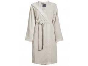 Dámská župan s kapsami, na zavazování v pase, 100% bavlna frotte, krémová barva - Essenza - M