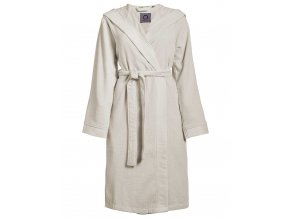 Dámská župan s kapsami, na zavazování v pase, 100% bavlna frotte, krémová barva - Essenza - L