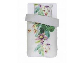 Barevné bavlněné povlečení na postel, saténové povlečení, obrázkové povlečení, 100% bavlna - motiv exotických květin, Essenza - 140x220+60x70