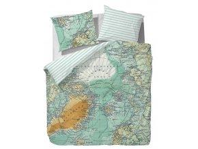 Sada bavlněného povlečení na dvojlůžko, designové povlečení, exkluzivní povlečení, 100% bavlna - motiv mapa světa, Covers & Co -  200x220+2/60x70