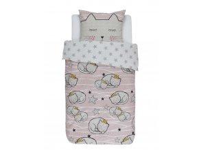 Bavlněné povlečení na postel pro děti s motivem kočky, obrázkové povlečení, 100 % bavlna - Covers & Co - 140x220+60x70