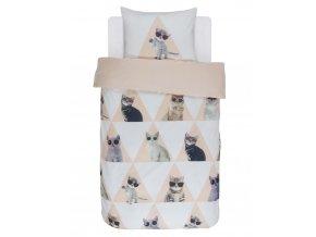 Bavlněné povlečení na postel, povlečení na jednolůžko, téma kočky, obrázkové povlečení, povlečení, 100 % bavlna - Covers & Co - 140x220+60x70