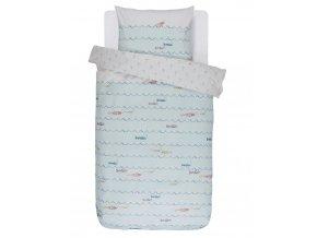 Barevné bavlněné povlečení na postel pro děti, 100 % bavlna, dětské povlečení, obrázkové povlečení, povlečení Fishy 140x220+60x70 - 140x220+60x70
