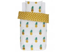 Bavlněné povlečení na postel Pineapple, obrázkové povlečení, povlečení 100 % bavlna, 140x200 + 70x90, Covers & Co - 140x200+70x90