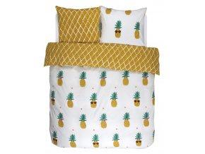 Bavlněné povlečení na postel Pineapple, obrázkové povlečení, povlečení 100 % bavlna,  povlečení na dvojlůžko, 240x220 + 2/60x70, Covers & Co - 240x220+2/60x70