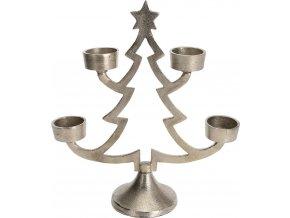 Kovový svícen ve tvaru vánočního stromku pro 4 svíčky