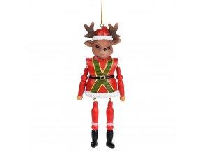 Závěsná vánoční dekorace, figurka louskáčka se sobí hlavou