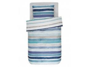 Bavlněné povlečení na postel, obrázkové povlečení, saténové povlečení, pruhovaný vzor, modré barvy, Esprit, 140 x 220 cm - 140x220+60x70