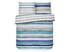 Bavlněná sada povlečení na dvojlůžko, sada okrasného povlečení, 100% bavlněné plátno - modro-bílá barva, barevné povleceni, postel v pásy, Esprit, 200 x 220 cm -  200x220+2/60x70
