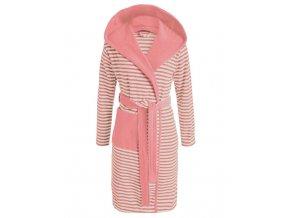Dámská župan s kapsami, růžové pruhy, župan s kapucí, kabát po koupeli, 100% bavlněné froté, Esprit - L