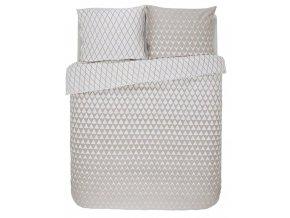 Bavlněná sada povlečení na dvojlůžko, sada okrasného povlečení, 100% bavlněné plátno - béžovo-bílá barva, barevné povleceni, postel v geometrickém vzoru, Esprit, 200 x 220 cm -  200x220+2/60x70