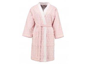 Dámská župan s kapsami, na zavazování v pase, 100% bavlna, pastelová růžová barva, Esprit - L