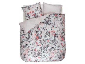 Bavlněná sada povlečení na dvojlůžko, sada okrasného povlečení, 100% bavlněné plátno - postel v květinách, šedo-růžová barva, oboustranná podložka, Esprit, 200 x 220 cm - 200x220+2/80x80