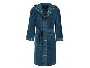 Pánský nebo dámský župan s kapsami a s kapucí, kabát po koupeli, 100% bavlněné froté - modrá barva, Esprit - L