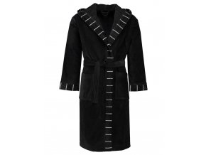 Pánský nebo dámský župan s kapsami a s kapucí, kabát po koupeli, 100% bavlněné froté - černá barva, Esprit - XL