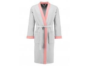 Dámská župan s kapsami, na zavazování v pase, 100% bavlna - bílý s růžovými vložkami, Esprit - L