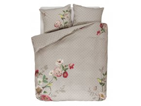 Bavlněná sada povlečení na dvojlůžko, sada okrasného povlečení, 100% bavlněné plátno -  barva khaki, květiny, floristický design, PIP Studio -  200x220+2/60x70