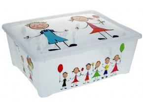 Průhledný plastický box na hračky s víkem KIDS, 42x33x16 cm, 25 l