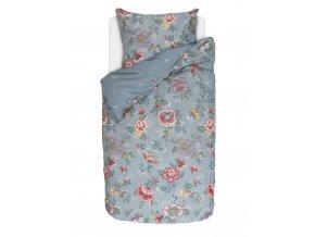 Bavlněné povlečení na postel pro jednu osobu, povlečení v retro stylu, obrázkové povlečení, sada povlečení, 100% bavlněné plátno, šedo-modrá barva, květiny, PiP Studio - 140x220+60x70