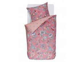 Bavlněné povlečení na postel pro jednu osobu, obrázkové povlečení, povlečení v retro stylum,100% bavlněné plátno, povlečení na jednolůžko, barva khaki, květiny, PiP Studio - 140x220+60x70