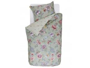 Bavlněné povlečení na postel pro jednu osobu, obrázkové povlečení, sada povlečení, 100% bavlněné plátno, povlečení na jednolůžko - barva zelená, květiny, PiP Studio - 140x220+60x70