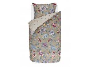Bavlněné povlečení na postel pro jednu osobu, obrázkové povlečení, sada povlečení, 100% bavlněné plátno, povlečení na jednolůžko - barva khaki, květiny, PiP Studio - 140x220+60x70