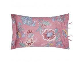 PiP Studio  ekskluzywne pościele Dekorační polštář, ozdobný potah na polštář, 100% bavlněné plátno, růžová barva  květinový motiv, PiP Studio