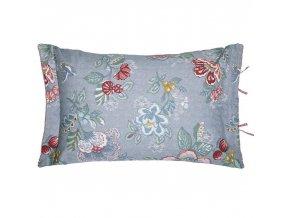 PiP Studio  ekskluzywne pościele Dekorační polštář, ozdobný potah na polštář, 100% bavlněné plátno, modrá barva  květinový motiv, PiP Studio
