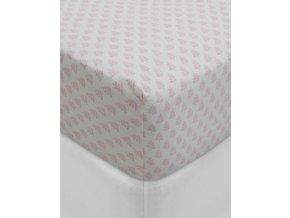Hladké  prostěradlo, luxusní prostěradlo z hladkého úpletu, 100% bavlna, prostěradlo s gumičkou, listový motiv, PiP Studio - 90x200