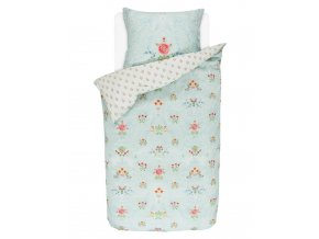 Bavlněné povlečení na postel pro jednu osobu, obrázkové povlečení, sada povlečení, 100% bavlněné plátno, povlečení na jednolůžko - téma kytice květin, zelená barva, PiP Studio - 140x220+60x70