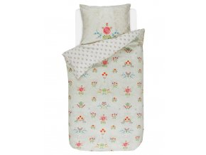 Bavlněné povlečení na postel pro jednu osobu, obrázkové povlečení, sada povlečení, 100% bavlněné plátno, povlečení na jednolůžko - téma kytice květin, PiP Studio - 140x220+60x70