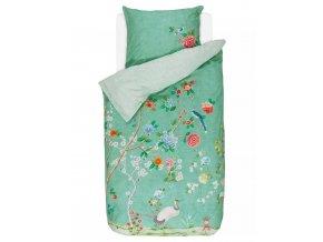 Bavlněné povlečení na postel pro jednu osobu, obrázkové povlečení, sada povlečení, 100% bavlněné plátno, povlečení na jednolůžko - zelená barva, květiny, PiP Studio - 140x220+60x70