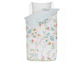 Bavlněné povlečení na postel pro jednu osobu, obrázkové povlečení, sada povlečení, 100% bavlněné plátno, povlečení na jednolůžko - bilá barva, květiny, PiP Studio - 140x220+60x70