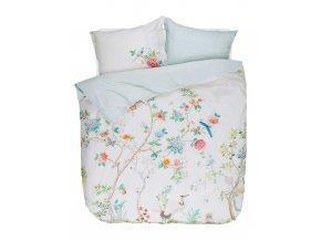Bavlněná sada povlečení na dvojlůžko, sada okrasného povlečení, 100% bavlněné plátno - bílá barva, květiny, PIP Studio -  200x220+2/60x70