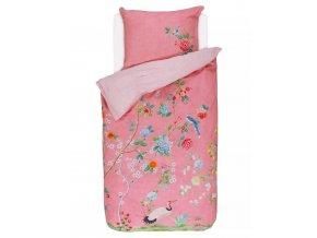 Bavlněné povlečení na postel pro jednu osobu, obrázkové povlečení, sada povlečení, 100% bavlněné plátno, povlečení na jednolůžko - růžová barva, květiny, PiP Studio - 140x220+60x70