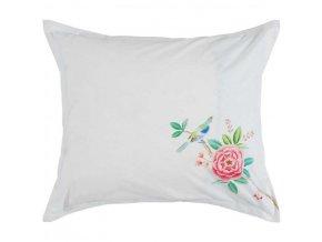 Bílý dekorační polštář z bavlny s květinou PiP Studio, 60x70 cm