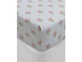 Hladké  prostěradlo, luxusní prostěradlo z hladkého úpletu, 100% bavlna, prostěradlo s gumičkou, květinový design, PiP Studio - 90x200