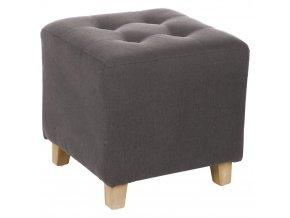 Šedý pouf, elegantně pokrytá stolička, která je praktickou a originální výzdobou bytu