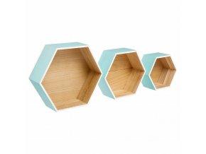Nástěnné poličky, sada tří poliček, které lze složit do tvaru medové plástve