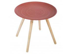 Kávový stolek se čtyřmi nohami, moderní nábytek se zdobenou červenou plochou