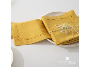 Látkové ubrousky ve žluté barvě, 4x40x40 cm, bavlna