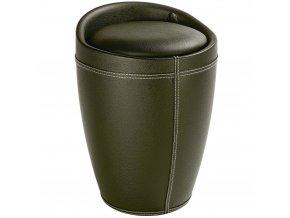 Taburet CANDY - koš na prádlo, 2 v 1, černá barva, WENKO