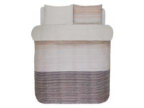 Sada bavlněného povlečení na dvojlůžko, 200 x 200 cm, REYSA oboustranné povlečení, saténové povlečení, pruhovaný vzor, béžová barva, 100 % bavlna - Marco O'Polo  - 200x200+2/80x80