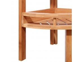 Třípatrová rohová polička zbambusového vlákna do koupelny anebo sauny, regál s poličkami, polička bambusová, bambusový nábytek, koupelnový nábytek