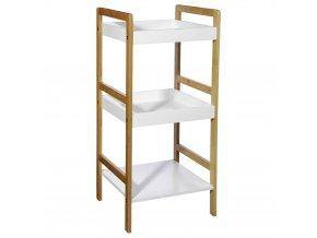 Třípatrový koupelnový regál zbambusového vlákna aOSB desek, regál s policemi, bambusová police, bambusový nábytek, koupelnový nábytek, regál